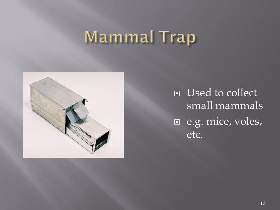  Used to collect small mammals  e.g. mice, voles, etc. 13