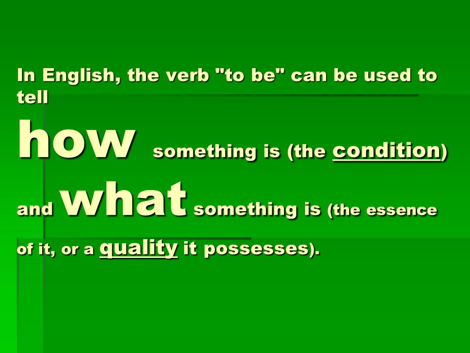 In English, the verb