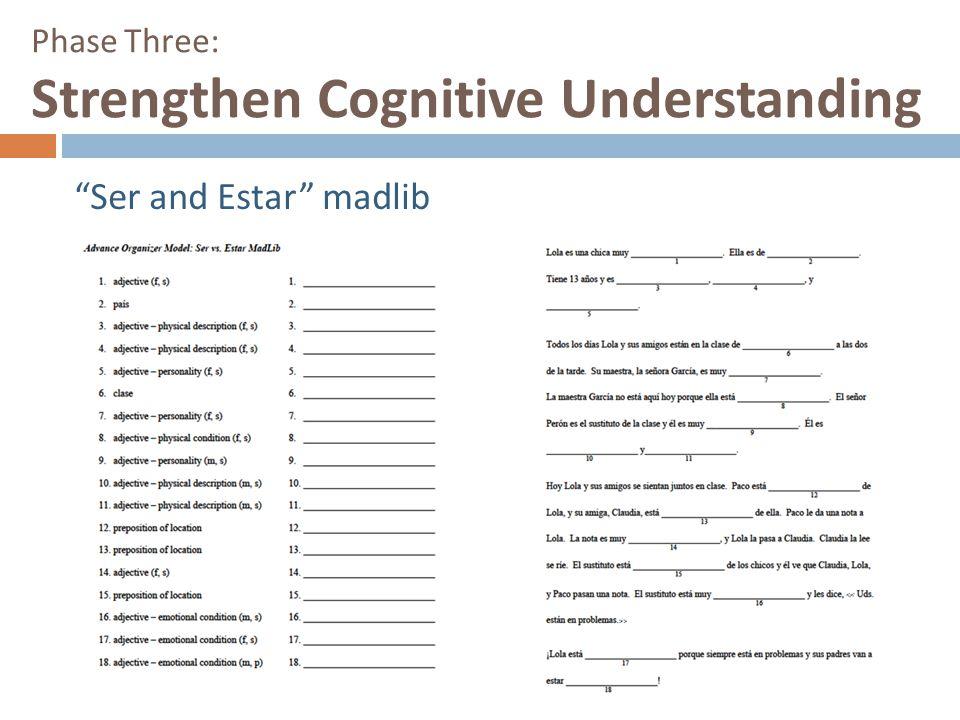 "Phase Three: Strengthen Cognitive Understanding ""Ser and Estar"" madlib"