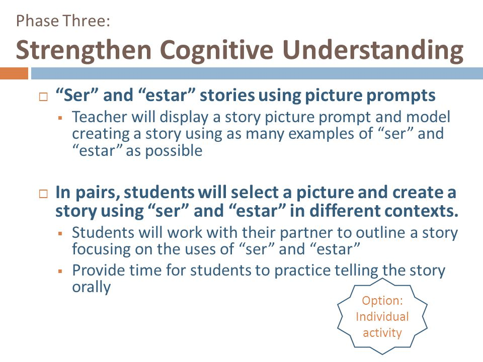 """Phase Three: Strengthen Cognitive Understanding  """"Ser"""" and """"estar"""" stories using picture prompts  Teacher will display a story picture prompt and mo"""