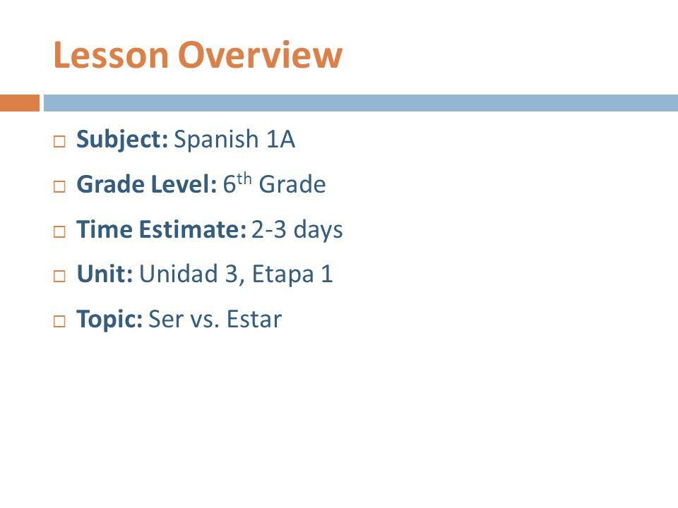 Lesson Overview  Subject: Spanish 1A  Grade Level: 6 th Grade  Time Estimate: 2-3 days  Unit: Unidad 3, Etapa 1  Topic: Ser vs. Estar