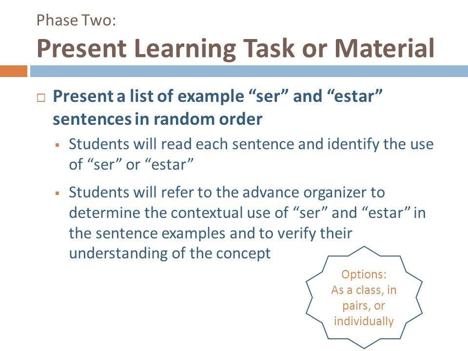 """Phase Two: Present Learning Task or Material  Present a list of example """"ser"""" and """"estar"""" sentences in random order  Students will read each sentenc"""