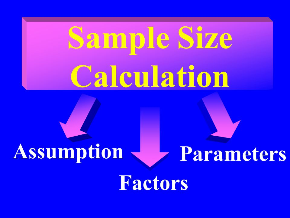 Sample Size Calculation Assumption Parameters Factors