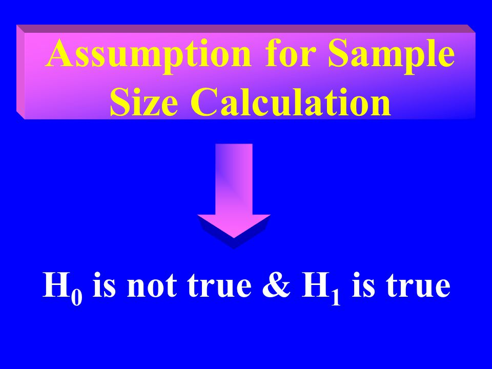Assumption for Sample Size Calculation H 0 is not true & H 1 is true