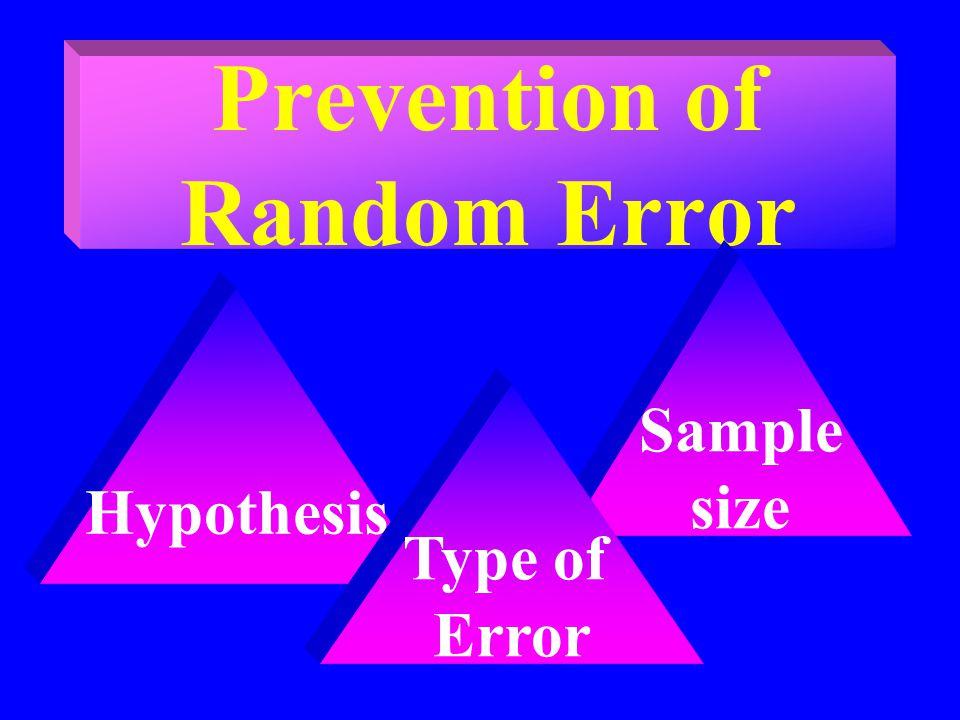 Prevention of Random Error Sample size Hypothesis Type of Error