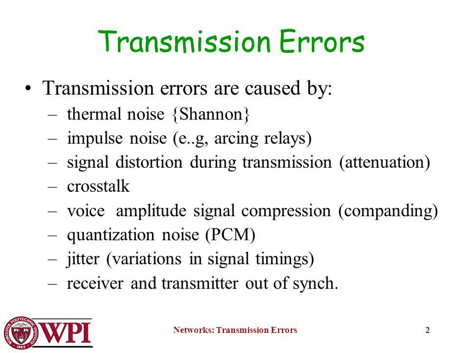 Networks: Transmission Errors23 1.