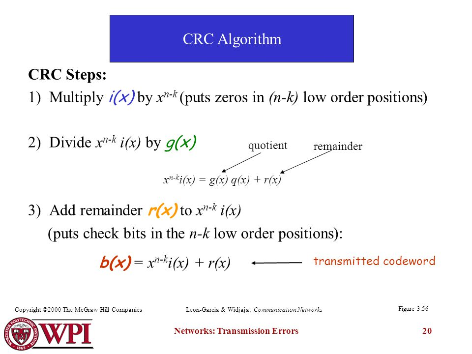 Networks: Transmission Errors20 CRC Steps: 1) Multiply i(x) by x n-k (puts zeros in (n-k) low order positions) 2) Divide x n-k i(x) by g(x) 3) Add remainder r(x) to x n-k i(x) (puts check bits in the n-k low order positions): quotient remainder transmitted codeword b(x) = x n-k i(x) + r(x) x n-k i(x) = g(x) q(x) + r(x) Figure 3.56 CRC Algorithm Copyright ©2000 The McGraw Hill CompaniesLeon-Garcia & Widjaja: Communication Networks
