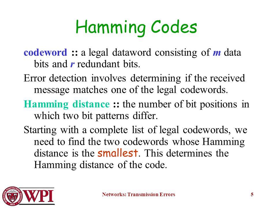 Networks: Transmission Errors6 Error Correcting Codes Figure 3-7.
