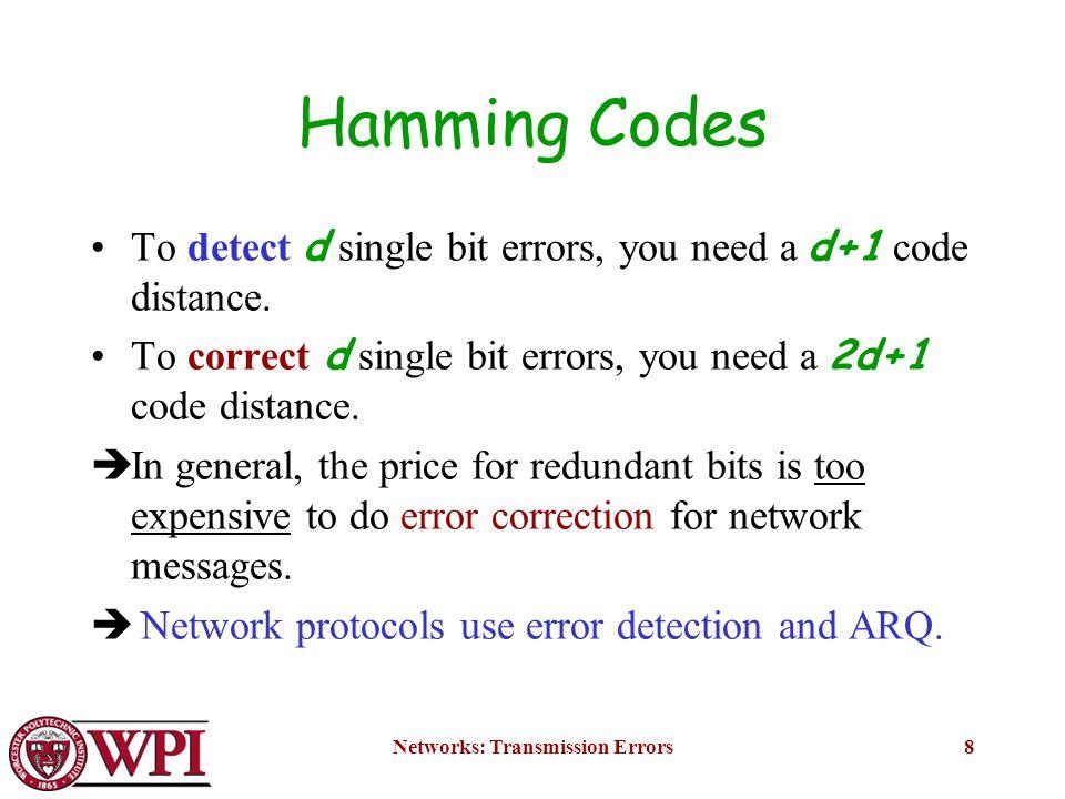 Networks: Transmission Errors9 Error Detection Remember – errors in network transmissions are bursty.