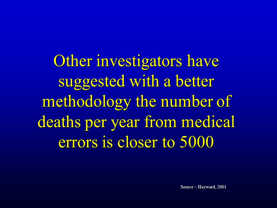 Other investigators have suggested with a better methodology the number of deaths per year from medical errors is closer to 5000 Source – Hayward, 2001