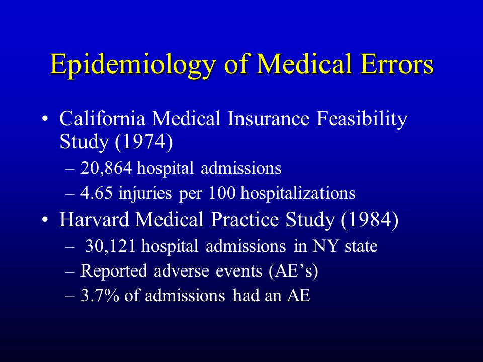 Epidemiology of Medical Errors California Medical Insurance Feasibility Study (1974) –20,864 hospital admissions –4.65 injuries per 100 hospitalizations Harvard Medical Practice Study (1984) – 30,121 hospital admissions in NY state –Reported adverse events (AE's) –3.7% of admissions had an AE