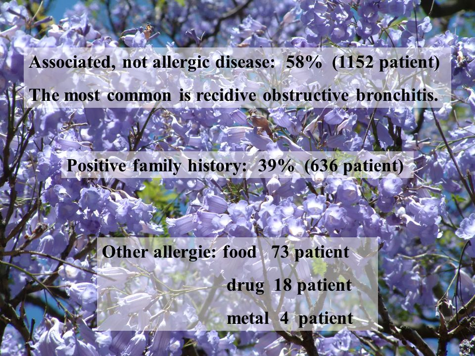 Associated, not allergic disease: 58% (1152 patient) The most common is recidive obstructive bronchitis.