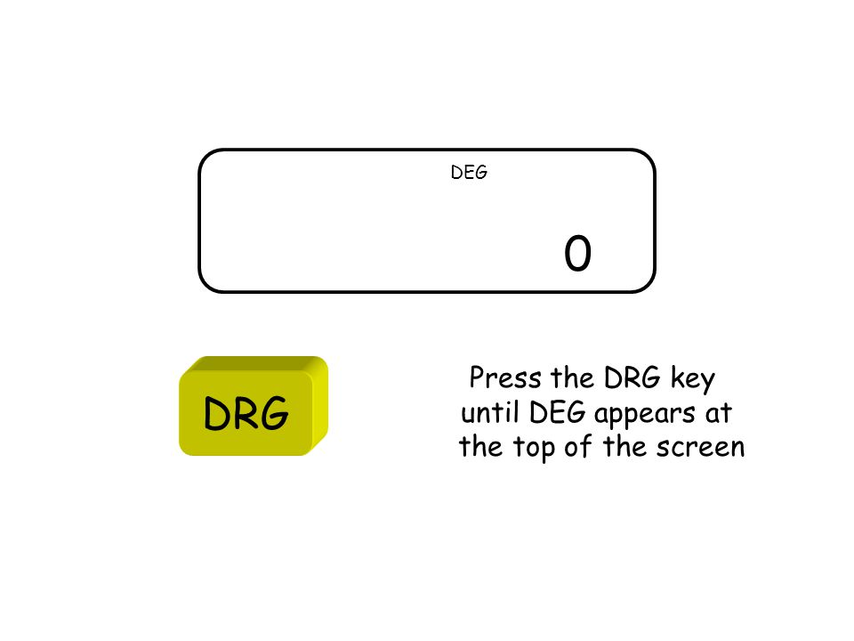 0 DEG DRG Press the DRG key until DEG appears at the top of the screen