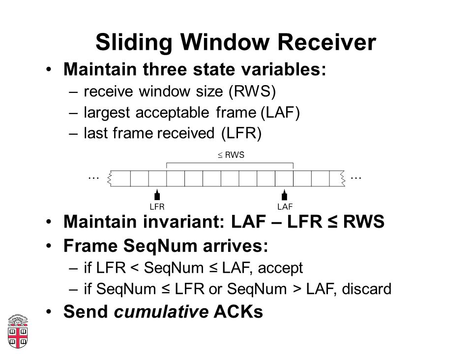 Sliding Window Receiver Maintain three state variables: –receive window size (RWS) –largest acceptable frame (LAF) –last frame received (LFR) Maintain