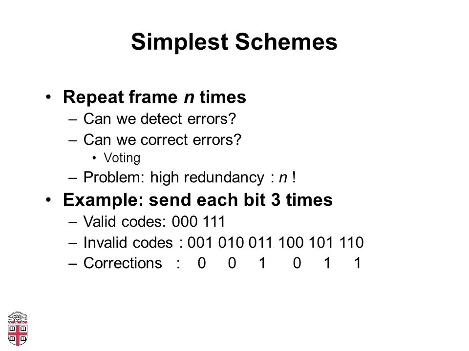 Simplest Schemes Repeat frame n times –Can we detect errors? –Can we correct errors? Voting –Problem: high redundancy : n ! Example: send each bit 3 t