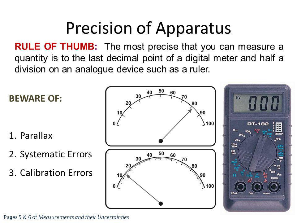 Precision of Apparatus Pages 5 & 6 of Measurements and their Uncertainties RULE OF THUMB: The most precise that you can measure a quantity is to the l