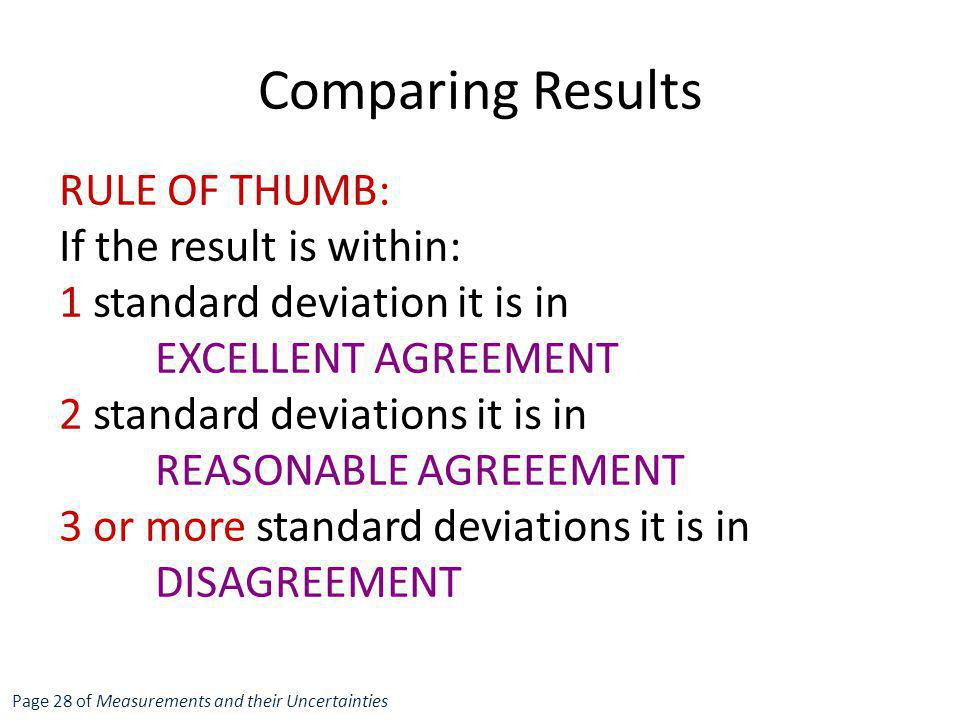 Comparing Results RULE OF THUMB: If the result is within: 1 standard deviation it is in EXCELLENT AGREEMENT 2 standard deviations it is in REASONABLE