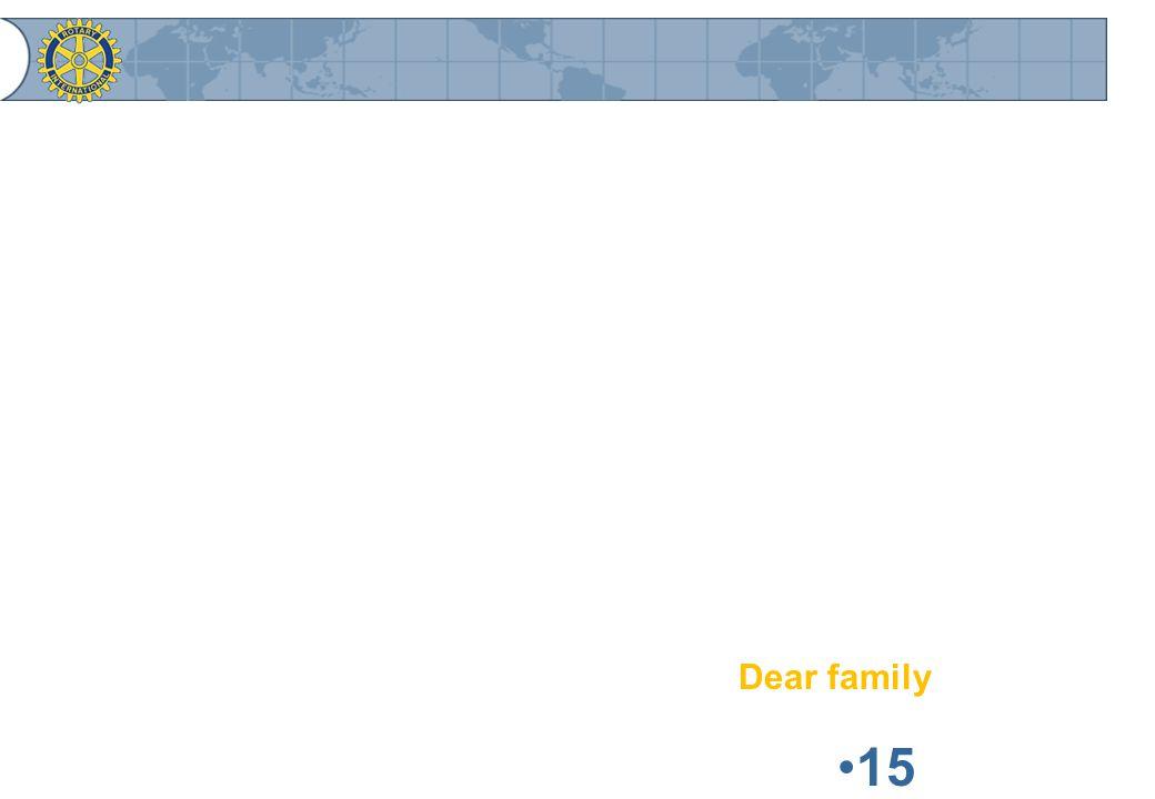 15 Dear family