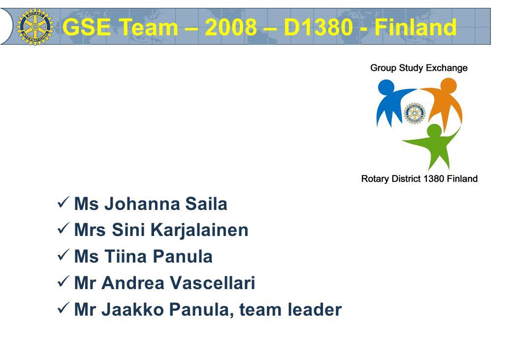 Mrs Sini Karjalainen GSE Team – 2008 – D1380 - Finland
