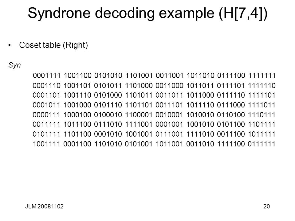 20 Syndrone decoding example (H[7,4]) Coset table (Right) Syn 0001111 1001100 0101010 1101001 0011001 1011010 0111100 1111111 0001110 1001101 0101011 1101000 0011000 1011011 0111101 1111110 0001101 1001110 0101000 1101011 0011011 1011000 0111110 1111101 0001011 1001000 0101110 1101101 0011101 1011110 0111000 1111011 0000111 1000100 0100010 1100001 0010001 1010010 0110100 1110111 0011111 1011100 0111010 1111001 0001001 1001010 0101100 1101111 0101111 1101100 0001010 1001001 0111001 1111010 0011100 1011111 1001111 0001100 1101010 0101001 1011001 0011010 1111100 0111111 JLM 20081102