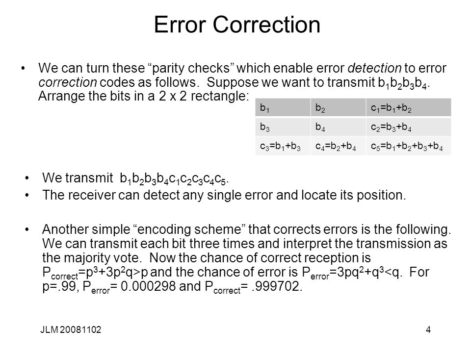 4 Error Correction We can turn these parity checks which enable error detection to error correction codes as follows.
