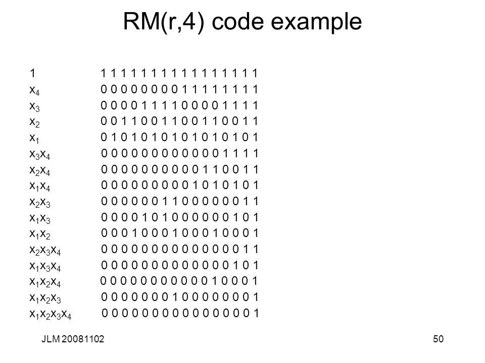 50 RM(r,4) code example 1 1 1 1 1 1 1 1 1 1 1 1 1 1 1 1 1 x 4 0 0 0 0 0 0 0 0 1 1 1 1 1 1 1 1 x 3 0 0 0 0 1 1 1 1 0 0 0 0 1 1 1 1 x 2 0 0 1 1 0 0 1 1