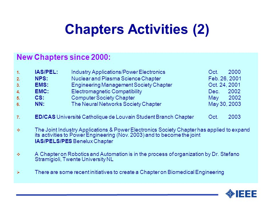 Chapters Activities (2) New Chapters since 2000: 1.