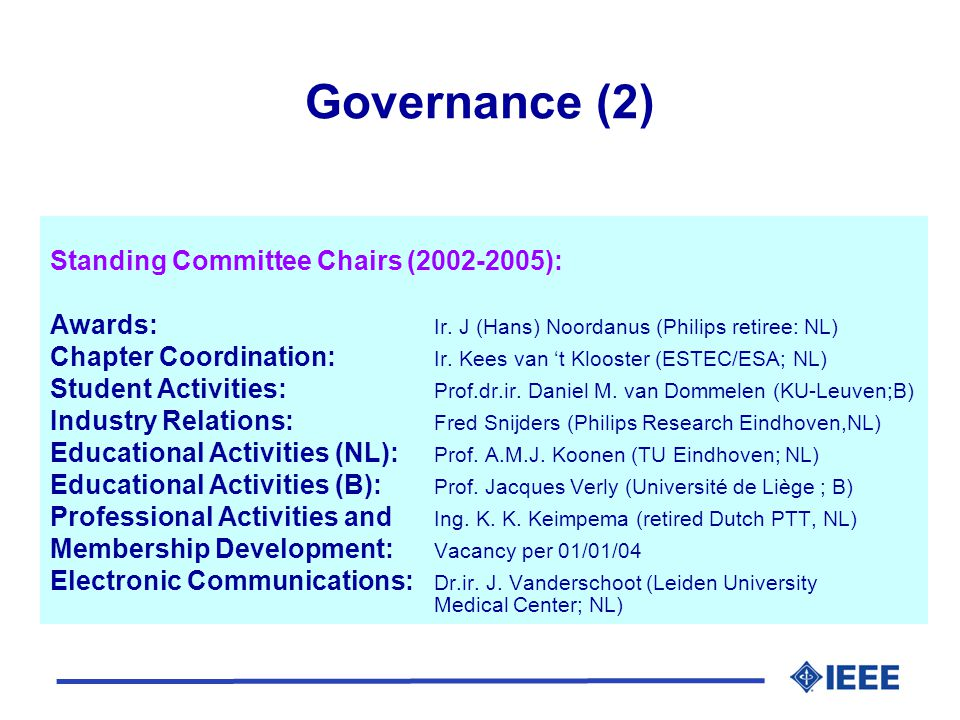 Governance (3) l ExCom meetings twice a year (May/November) l General assembly (with officer election) every second year; last one in Eindhoven, the Netherlands, January 14, 2002 l Next in January 2005 (postponed with 1 year) l Chairpersons alternate between The Netherlands and Belgium or Luxembourg l Within Belgium/Luxembourgian turns, it alternates between Northern and Southern region