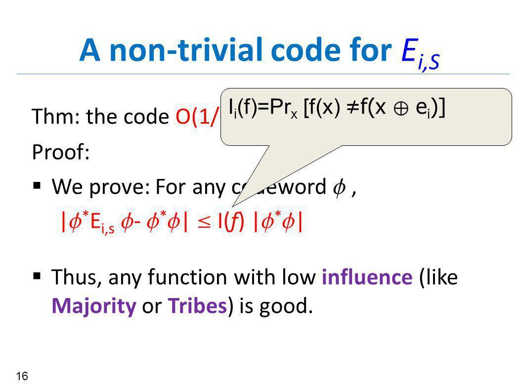 A non-trivial code for E i,S Thm: the code O(1/  n) corrects {E i,S }.