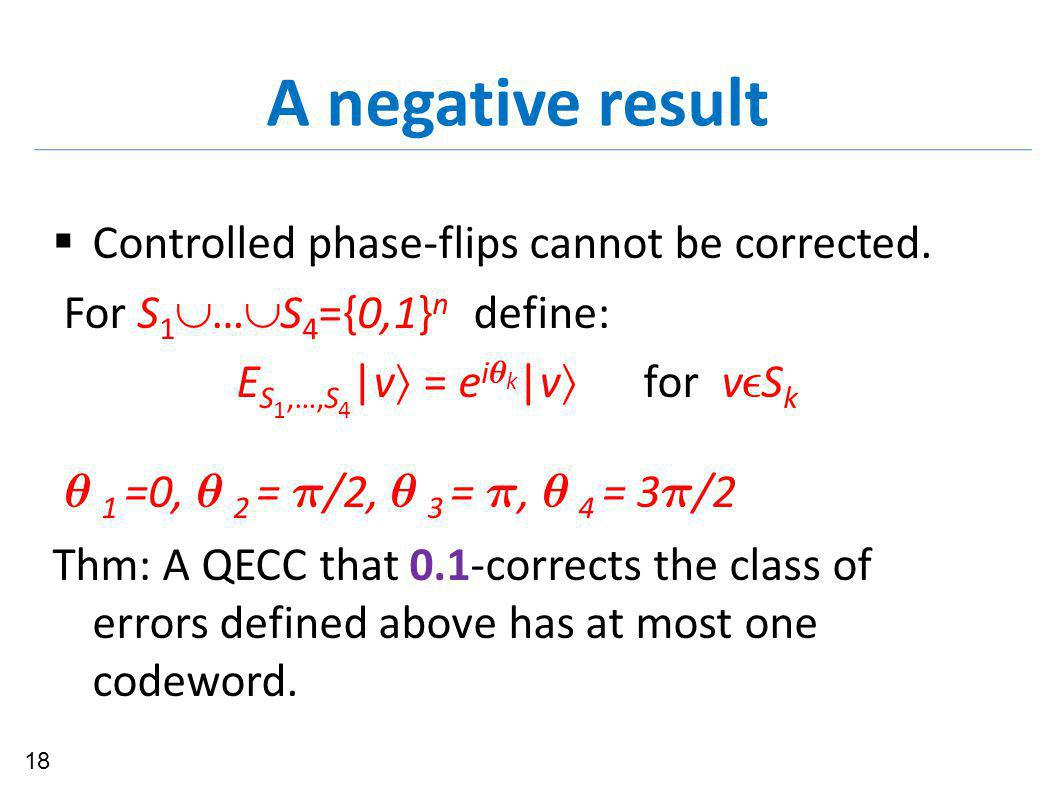 A negative result  Controlled phase-flips cannot be corrected.