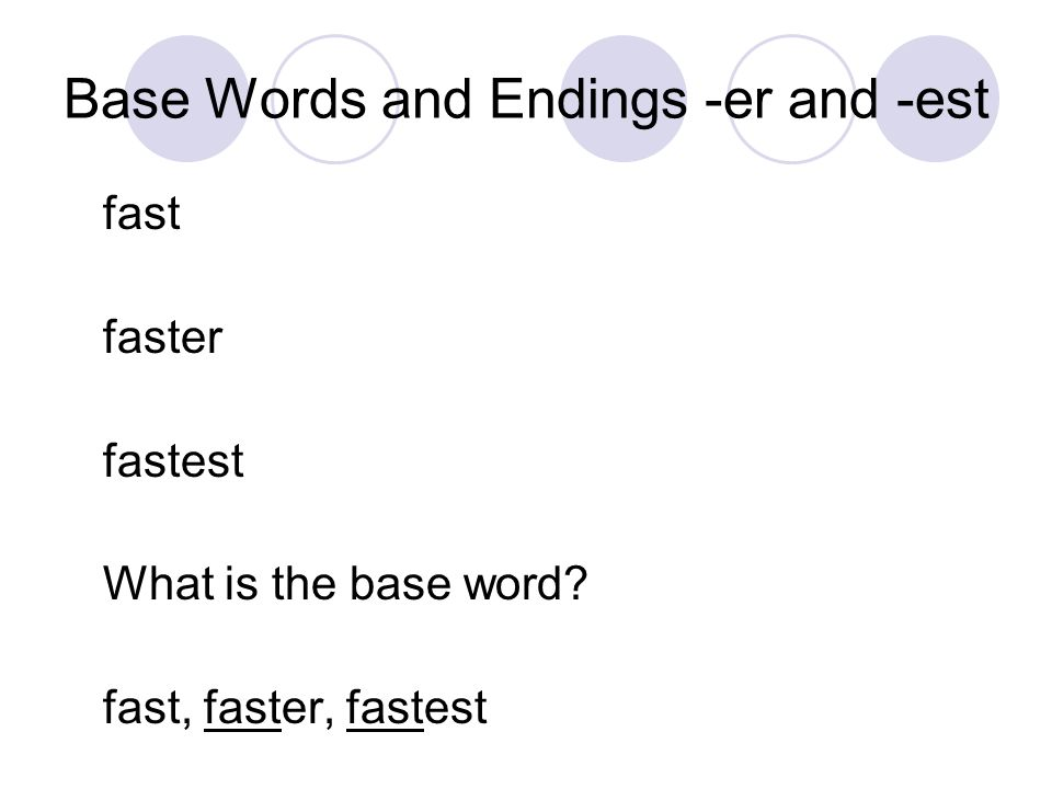 Base Words and Endings -er and -est fast faster fastest What is the base word? fast, faster, fastest