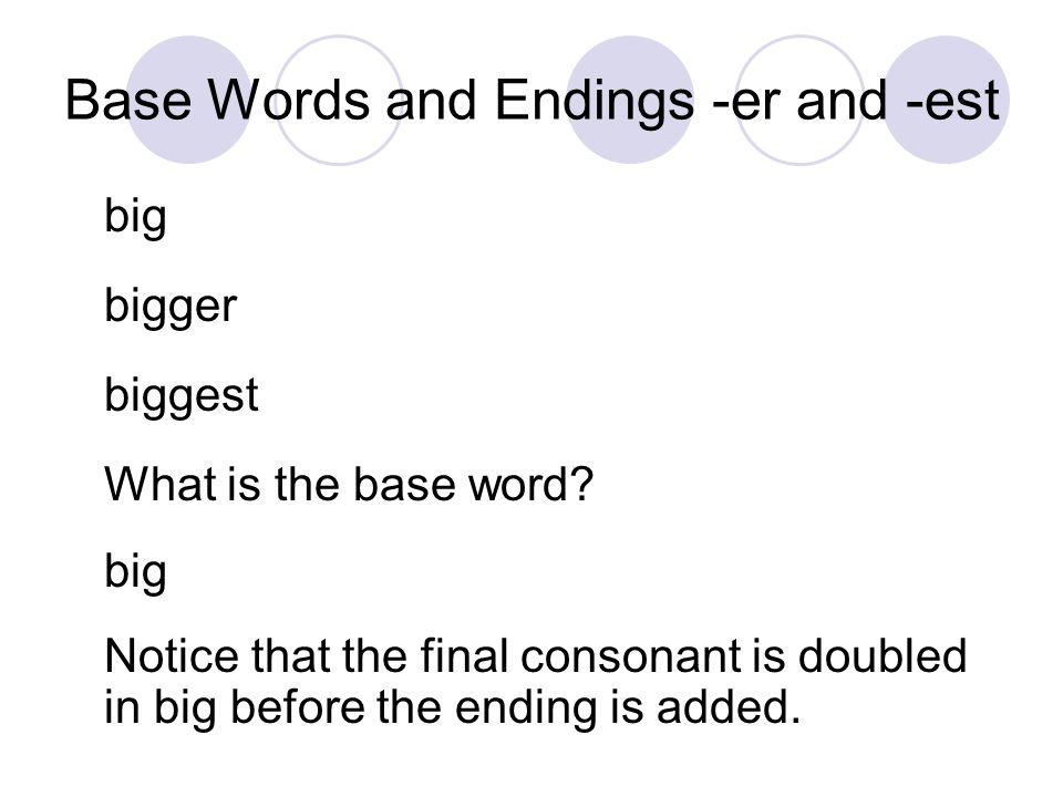 Base Words and Endings -er and -est big bigger biggest What is the base word? big Notice that the final consonant is doubled in big before the ending