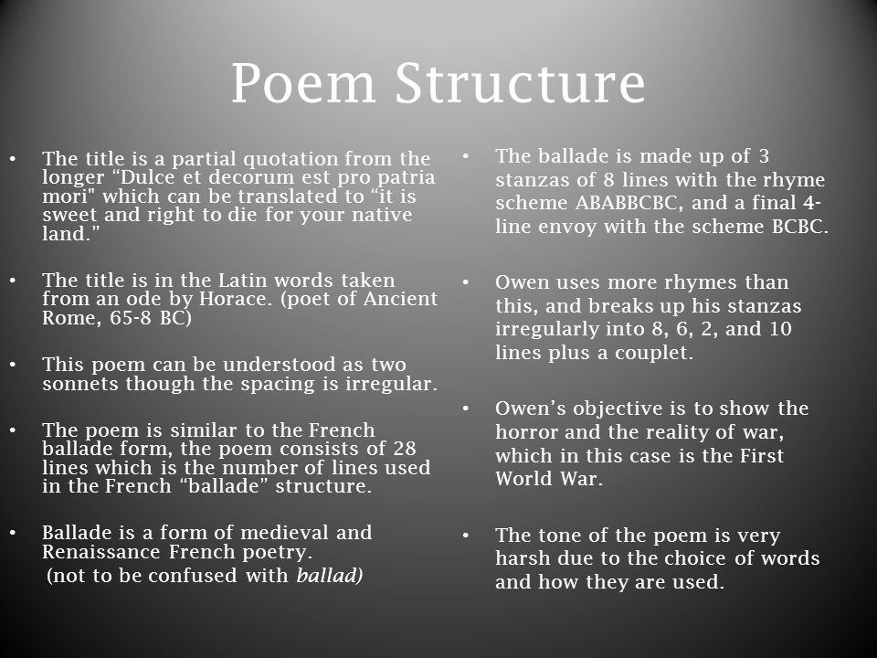 dulce et decorum est by wilfred owen authors biography owen was  poem structure the title is a partial quotation from the longer dulce et decorum est pro
