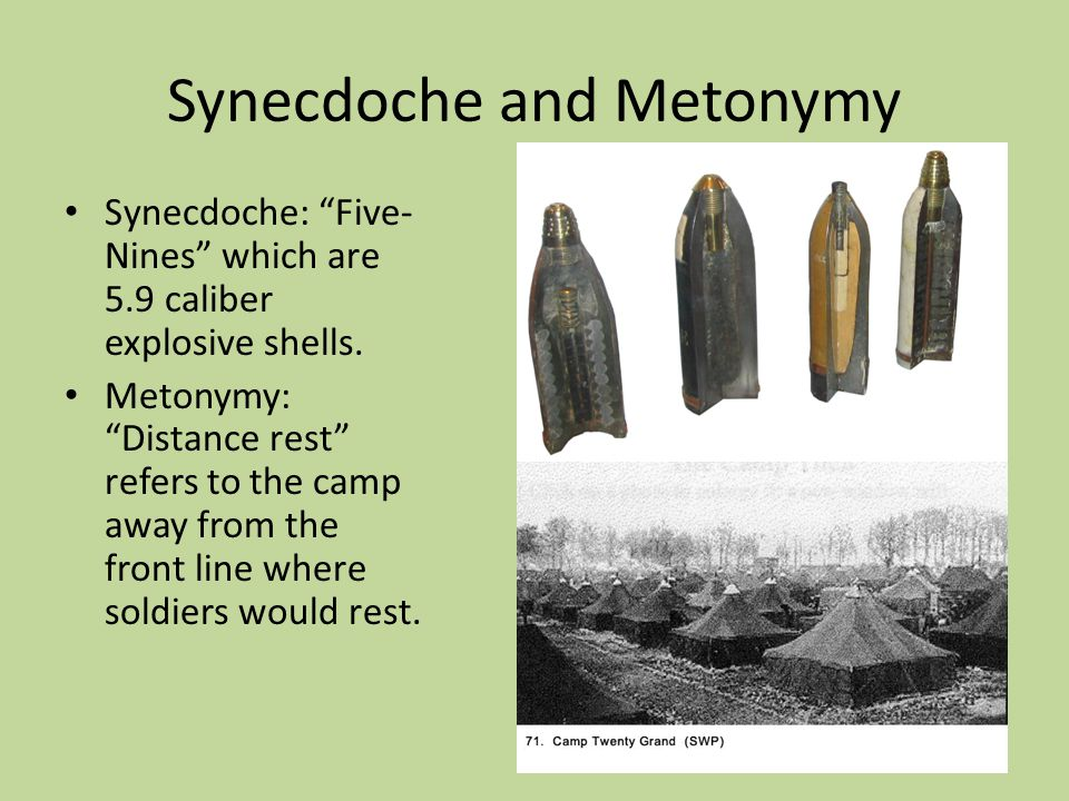 "Synecdoche and Metonymy Synecdoche: ""Five- Nines"" which are 5.9 caliber explosive shells. Metonymy: ""Distance rest"" refers to the camp away from the f"