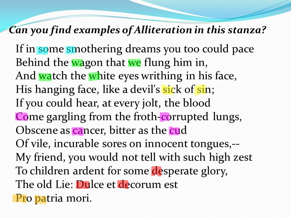 Can you find examples of Alliteration in this stanza.