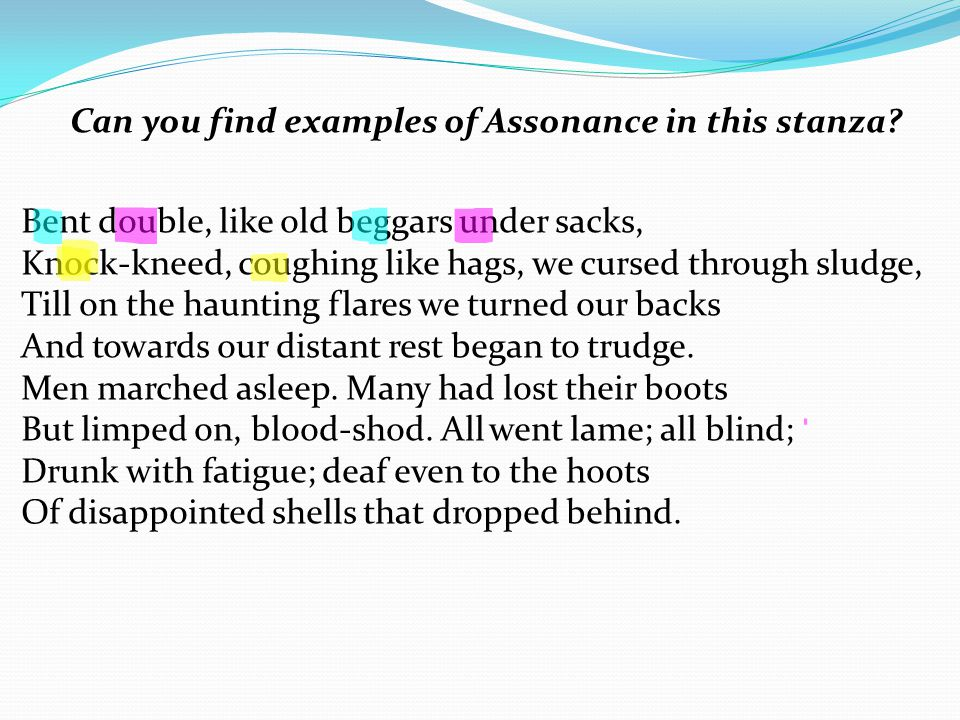 Can you find examples of Assonance in this stanza.