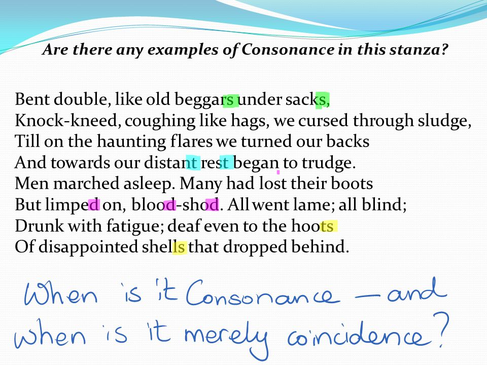 Are there any examples of Consonance in this stanza.