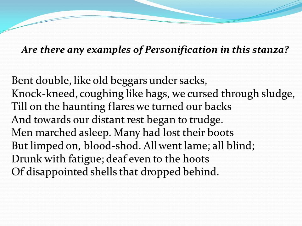 Are there any examples of Personification in this stanza.