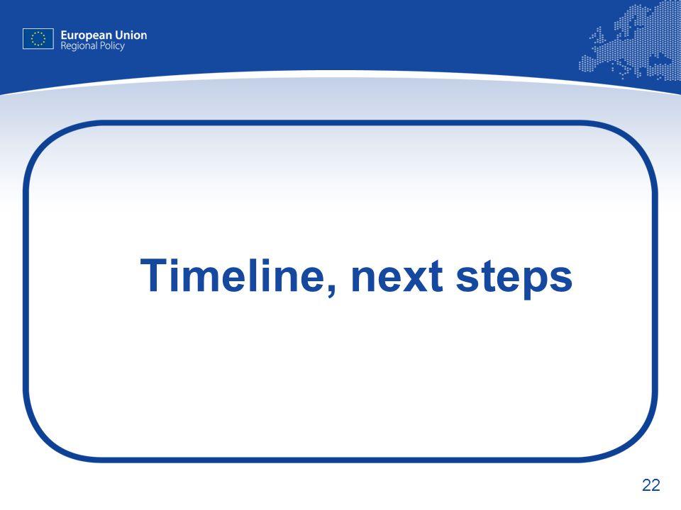 22 Timeline, next steps