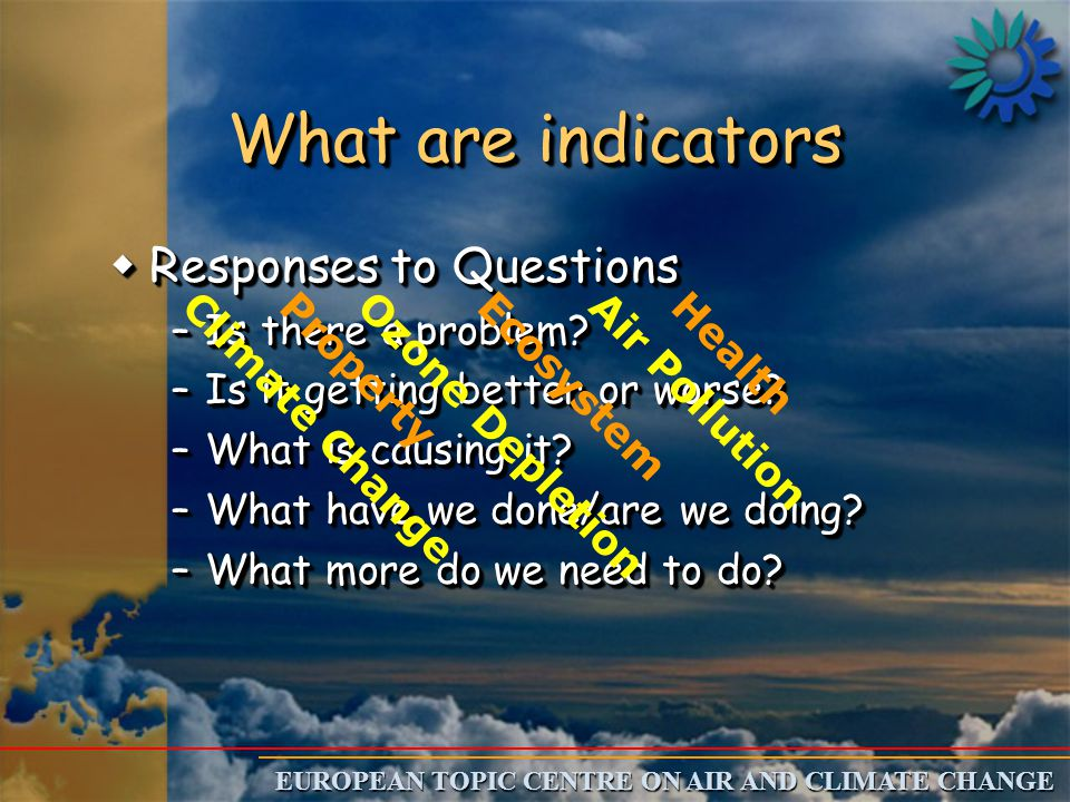 EUROPEAN TOPIC CENTRE ON AIR AND CLIMATE CHANGE What are indicators wResponses to Questions –Is there a problem.