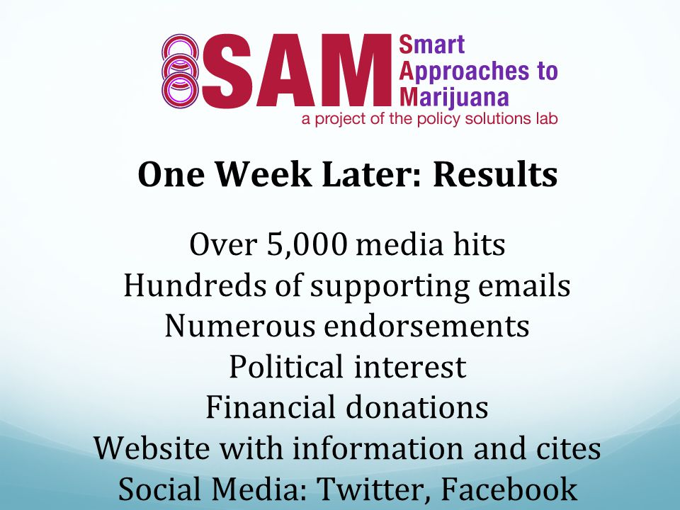 One Week Later: Results Over 5,000 media hits Hundreds of supporting  s Numerous endorsements Political interest Financial donations Website with information and cites Social Media: Twitter, Facebook