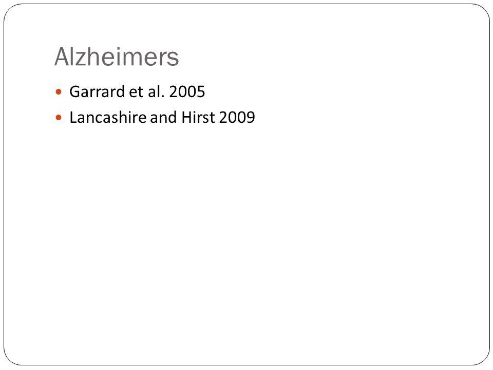 Alzheimers Garrard et al. 2005 Lancashire and Hirst 2009