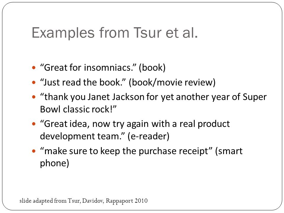 Examples from Tsur et al.