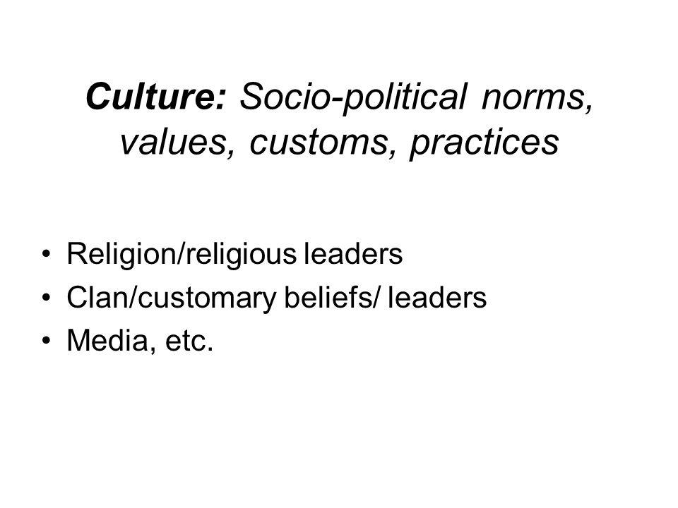 Culture: Socio-political norms, values, customs, practices Religion/religious leaders Clan/customary beliefs/ leaders Media, etc.