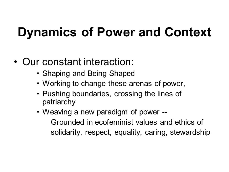 Dynamics of Power and Context Our constant interaction: Shaping and Being Shaped Working to change these arenas of power, Pushing boundaries, crossing the lines of patriarchy Weaving a new paradigm of power -- Grounded in ecofeminist values and ethics of solidarity, respect, equality, caring, stewardship