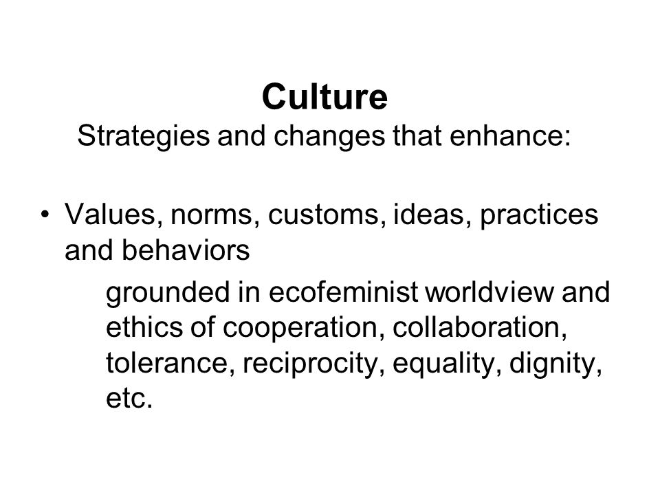 Culture Strategies and changes that enhance: Values, norms, customs, ideas, practices and behaviors grounded in ecofeminist worldview and ethics of co