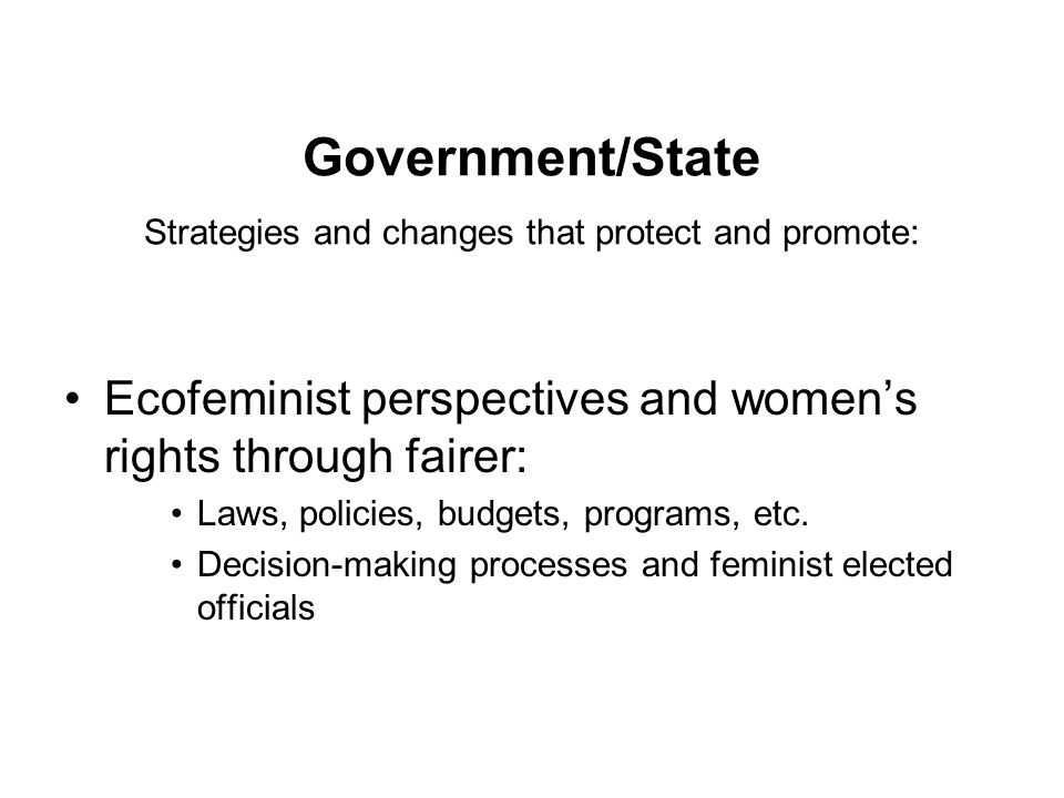 Government/State Strategies and changes that protect and promote: Ecofeminist perspectives and women's rights through fairer: Laws, policies, budgets, programs, etc.