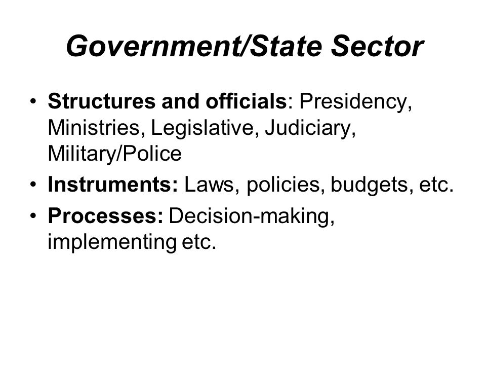 Government/State Sector Structures and officials: Presidency, Ministries, Legislative, Judiciary, Military/Police Instruments: Laws, policies, budgets