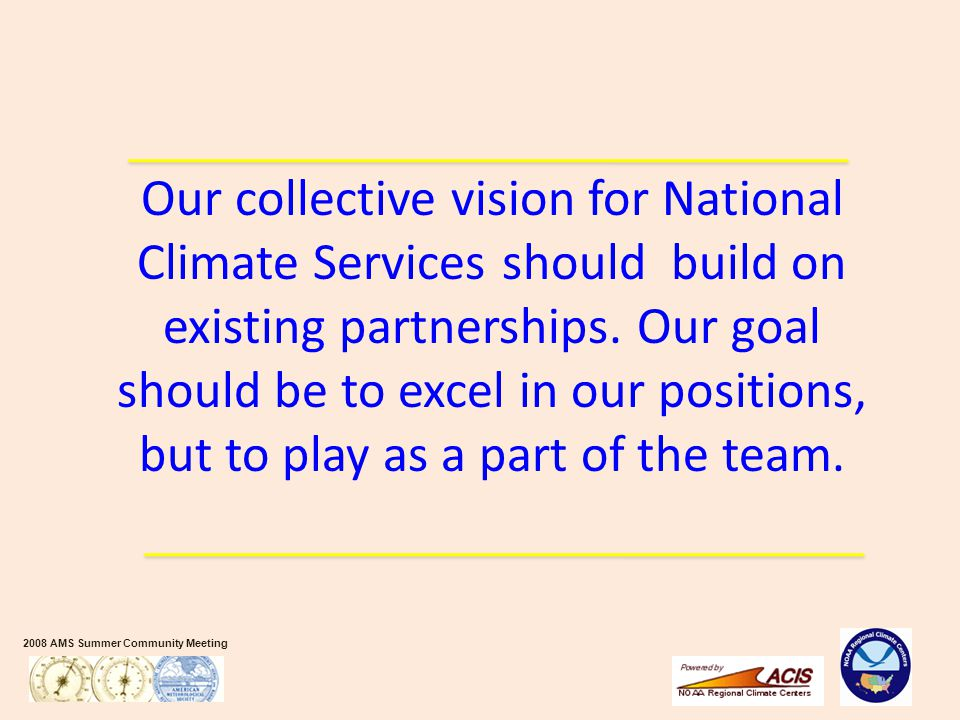 2008 AMS Summer Community Meeting Our collective vision for National Climate Services should build on existing partnerships. Our goal should be to exc