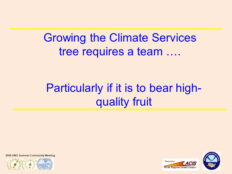 2008 AMS Summer Community Meeting Growing the Climate Services tree requires a team ….